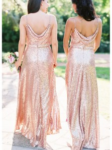 Sheath V Neck Open Back Pink Gold Sequins Long Bridesmaid Dresses