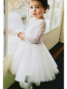 Cute A Line Round Neck Long Sleeves Lace White Short Flower Girl Dresses
