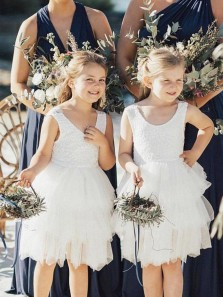 Cute A Line Round Neck White Lace Tiered Short Flower Girl Dresses