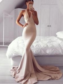 Modest Halter Criss-Cross Back Blush Elastic Satin Mermaid Long Prom Dresses,Formal Party Dresses PD0910003