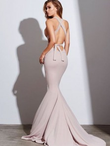 Modest Halter Criss-Cross Back Blush Elastic Satin Mermaid Long Prom Dresses,Formal Party Dresses PD0910003