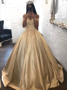 Gorgeous A-Line Off the Shoulder Champagne Satin Long Prom Dresses with Appliques,Charming Evening Party Gown PD0910005