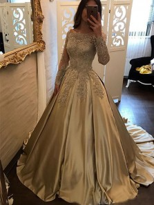 Stunning A-Line Off the Shoulder Long Sleeve Champagne Long Prom Dresses with Lace,Charming Evening Party Gown PD0910009