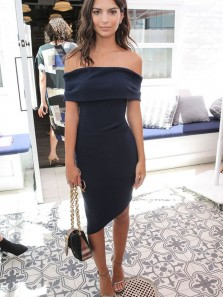 Chic Bodycon Off the Shoulder Navy Blue Elastic Satin Short Homecoming Dresses,Sexy Evening Cocktail Party Dresses HD0910011