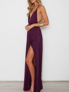 Sexy A-Line V Neck Spaghetti Straps Criss Cross Back Wine Chiffon Long Prom Dresses with Side Split,Formal Party Dresses PD0910012