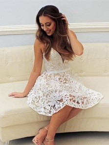 Cute A Line V Neck Open Back White Lace Short Homecoming Dresses, Fashion Short Prom Dresses HD0912001