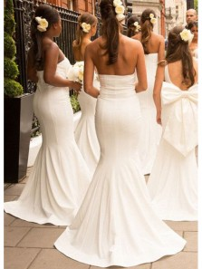Elegant Mermaid Backless White Long Bridesmaid Dresses BD0912001