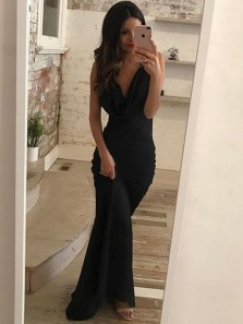 Gorgeous Mermaid V Neck Spaghetti Straps Cross Back Black Long Prom Dresses, Charming Long Evening Dresses