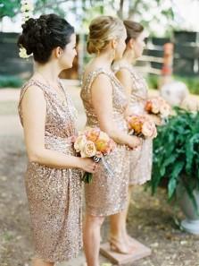 Elegant Sheath V Neck Open Back Champagne Sequins Short Bridesmaid Dresses BD0912002