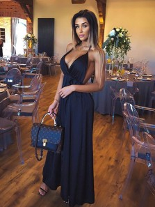 Sexy A Line V Neck Spaghetti Straps Backless Navy Long Prom Dresses Under 100, Charming Evening Party Dresses