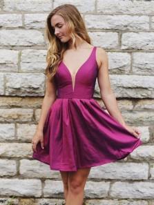 Cute A Line V Neck Backless Taffeta Rose Red Short Homecoming Dresses Under 100, Pretty Short Prom Dresses HD0912003