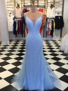 Sparkly Mermaid V Neck Spaghetti Straps Backless Blue Long Prom Dresses, Gorgeous Evening Party Dresses