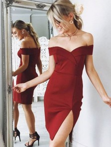 Charming Bodycon Off the Shoulder Split Burgundy Short Homecoming Dresses Under 100, Short Prom Dresses HD0912005