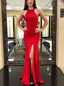 Charming Mermaid Round Neck Criss Cross Back Split Red Long Prom Dresses Under 100, Elegant Evening Dresses PD0912005