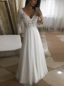 Elegant A Line V Neck Long Sleeves White Lace Long Wedding Dresses WD0913001