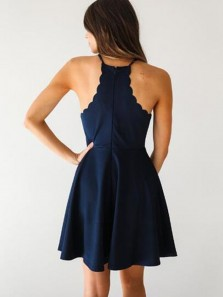 Cute A Line Round Neck Navy Elastic Satin Short Homecoming Dresses Under 100, Simple Short Prom Dresses