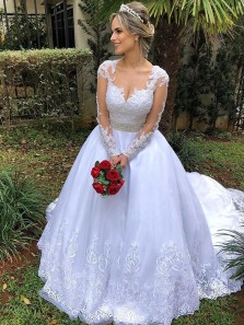 Gorgeous Ball Gown Round Neck Long Sleeves White Lace Wedding Dresses with Court Train