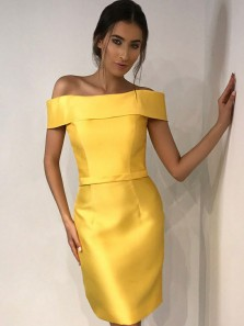 Gorgeous Sheath Off the Shoulder Yellow Short Homecoming Dresses Under 100, Formal Short Prom Dresses