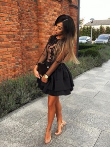 Charming A Line Round Neck Long Sleeves Lace Black Short Homecoming Dresses, Unique Short Prom Dresses