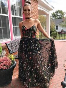 Elegant A Line Sweetheart Spaghetti Straps Lace Long Prom Dresses, Pretty Evening Dresses