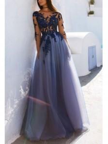 Gorgeous A Line Round Neck Long Sleeves Navy Appliques Long Prom Dresses, Elegant Evening Dresses PD0913006