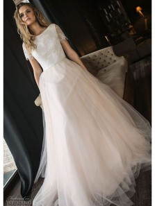 Gorgeous Ball Gown Scoop Short Sleeves Lace Champagne Long Wedding Dresses