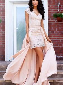 Gorgeous Sheath V Neck Open Back Cap Sleeves Lace Short Prom Dresses, Elegant Party Dresses
