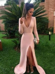 Charming Mermaid V Neck Long Sleeves Split Pink Long Prom Dresses, Elegant Evening Dresses