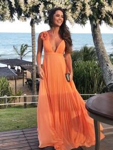 Gorgeous A Line V Neck Chiffon Orange Pleats Long Prom Dresses with Flower, Formal Evening Dresses