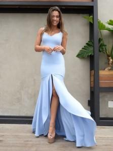 Charming Bodycon V Neck Open Back Split Light Blue High Low Prom Dresses, Elegant Evening Dresses PD0914007