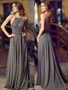 Gorgeous A Line Halter Backless Dark Grey Long Prom Dresses with Beading, Elegant Formal Evening Dresses