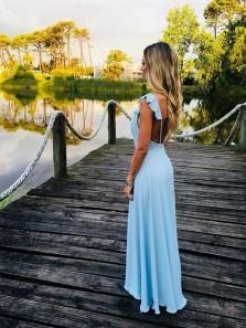 Charming Sheath V Neck Backless Ruffled Light Blue Long Prom Dresses, Elegant Evening Dresses PD0914010