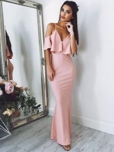 Gorgeous Mermaid V Neck Spaghetti Straps Ruffled Blush Long Prom Dresses, Formal Elegant Evening Dresses