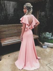 Gorgeous Sheath V Neck Open Back Split Ruffled Pink Long Prom Dresses, Charming Evening Dresses
