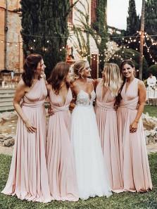 Elegant A Line V Neck Elastic Satin Pink Pleats Long Bridesmaid Dresses Convertible Maxi Dress BD0914003