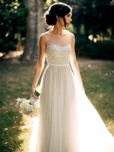 Charming A Line Round Neck Ivory Lace Long Wedding Dresses