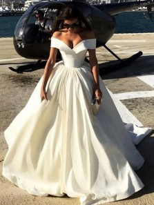 Gorgeous Ball Gown Off the Shoulder Ivory Long Prom Dresses with Train, Princess Dresses PD0914014