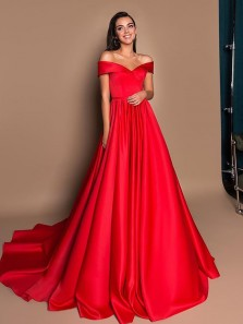 Gorgeous Ball Gown Off the Shoulder Red Satin Long Prom Dresses with Train, Vintage Long Evening Dresses