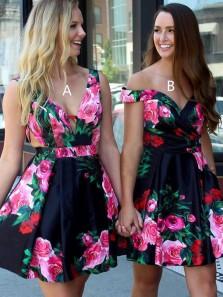 Cute A Line V Neck Floral Print Short Homecoming Dresses, Short Prom Dresses, Party Dresses