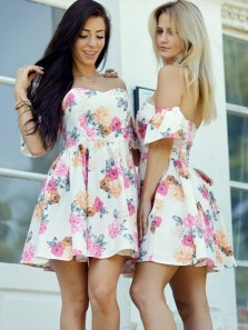 Cute A Line Sweetheart Floral Print Short Homecoming Dresses, Elegant Short Prom Dresses