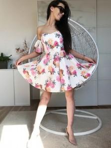 Cute A Line Sweetheart Floral Print Short Homecoming Dresses, Elegant Short Prom Dresses