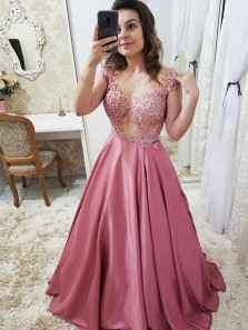 Gorgeous Ball Gown Round Neck Open Back Rose Red Satin Lace Long Prom Dresses, Elegant Evening Dresses PD0916002