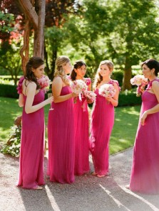 Elegant Sheath One Shoulder Pleats Rose Red Long Bridesmaid Dresses with Flowers
