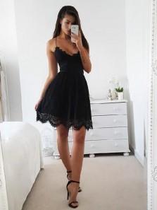 Cute A Line V Neck Spaghetti Straps Black Lace Short Homecoming Dresses, Elegant Short Prom Dresses