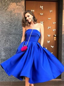 Cute A Line Sweetheart Satin Royal Blue Pleats Tea Length Prom Dresses with Pockets, Elegant Evening Party Dresses