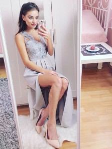 Gorgeous Sheath V Neck Open Back Split Grey Lace Long Prom Dresses, Formal Evening Party Dresses