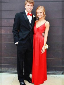 Charming Sheath V Neck Spaghetti Straps Open Back Red Satin Long Prom Dresses, Elegant Evening Dresses