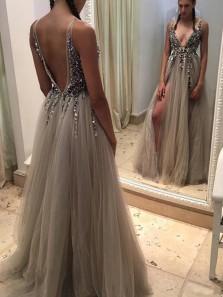Gorgeous A Line V Neck Open Back Long Prom Dresses with Beading, Formal Elegant Evening Dresses PD0916008