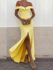Gorgeous Mermaid Off the Shoulder Split Yellow Long Prom Dresses, Simple Long Evening Dresses
