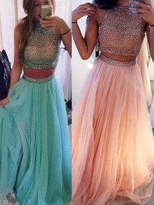 Gorgeous A Line Two Piece Halter Lavender Long Prom Dresses with Beading, Charming Long Evening Dresses